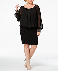 Betsy & Adam Plus Size Blouson Shutter Dress