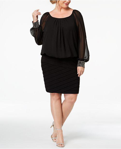 04b20e2b8e8 Betsy   Adam Plus Size Blouson Shutter Dress   Reviews - Dresses ...