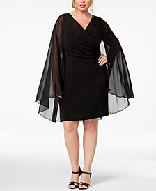 Calvin Klein Plus Size Surplice Cape Dress