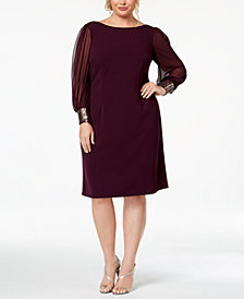 Calvin Klein Plus Size Embellished-Cuff Dress