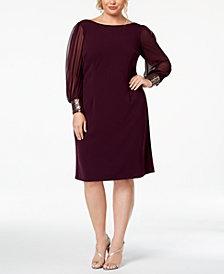 Calvin Klein Plus Size Embellished-Cuff Dress