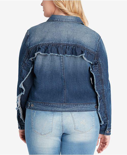 e8856d19e4712 Jessica Simpson Plus Size Peony Ruffled Denim Jacket   Reviews ...