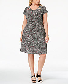 MICHAEL Michael Kors Plus Size Printed Cutout-Neck Dress