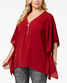 MICHAEL Michael Kors Plus Size Zip-Front Poncho Top