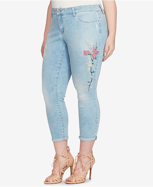 dc246c24eb5 ... Jessica Simpson Trendy Plus Size Forever Embroidered Cuffed Skinny  Ankle Jeans ...