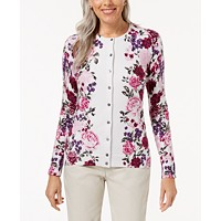 Karen Scott Floral-Print Cardigan Sweater (White Combo)