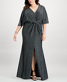 Betsy & Adam Plus Size Metallic Twist-Front Slit Gown