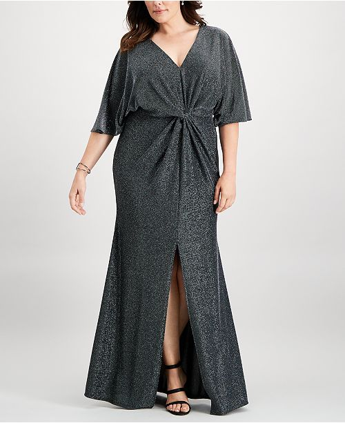 Betsy   Adam Plus Size Metallic Twist-Front Slit Gown - Dresses ... bf55c41ac