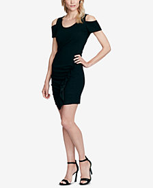 Jessica Simpson Juniors' Trinn Cold-Shoulder Bodycon Dress