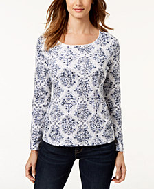 Karen Scott Printed Scoop-Neck T-Shirt, Created for Macy's