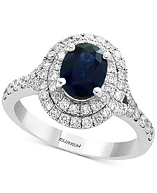EFFY® Sapphire (1-3/8 ct. t.w.) & Diamond (3/4 ct. t.w.) Halo Ring in 14k White Gold