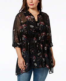 Style & Co Plus Size Sheer Floral-Print Tunic, Created for Macy's
