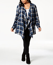 Style & Co Plus Size Cotton Plaid Peplum-Hem Cardigan, Created for Macy's