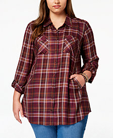 Style & Co Plus Size Plaid Tunic Shirt, Created for Macy's