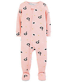 Carter's Baby Girl Swan Footed Cotton Pajamas