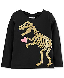 Carter's Toddler Girls Glitter Dino Graphic Cotton Shirt
