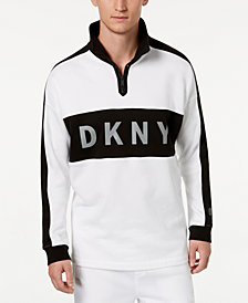 DKNY Men's Colorblocked Reflective Logo 1/4-Zip Fleece Sweatshirt