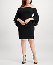 Calvin Klein Plus Size Off-The-Shoulder Crepe Dress