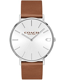 Men's Charles Saddle Brown Leather Strap Watch 41mm, Created for Macy's