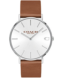 COACH Men's Charles Created for Macy's  Saddle Brown Leather Strap Watch 41mm