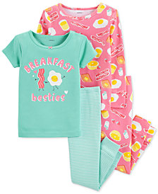 Carter's Toddler Girls 4-Pc. Breakfast Snug-Fit Cotton Pajama Set