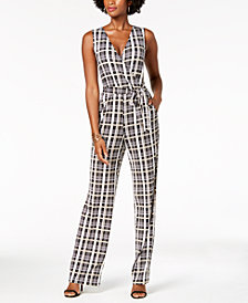 NY Collection Petite Sleeveless Surplice Jumpsuit