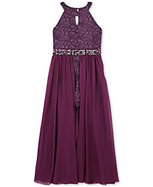 Speechless Little Girls Glitter Maxi-Overlay Romper