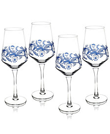 Spode Blue Italian Wine Glasses, Set of 4