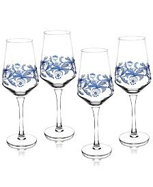 Spode Blue Italian Wine Glasses, Set of 4