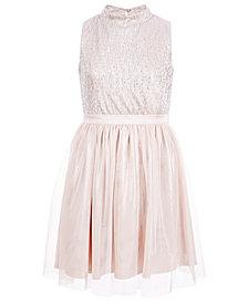 Pink & Violet Big Girls Crinkled Metallic Dress