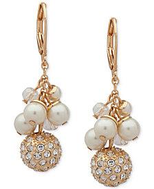 Anne Klein Gold-Tone Pavé Bead & Imitation Pearl Shaky Drop Earrings
