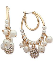 Anne Klein Gold-Tone Pavé Bead & Imitation Pearl Shaky Hoop Earrings