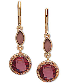 Anne Klein Gold-Tone Multi-Stone Double Drop Earrings