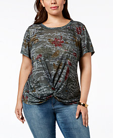 Style & Co Plus Size Printed Twist-Front Top, Created for Macy's