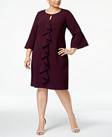 Jessica Howard Plus Size Bell-Sleeve Ruffle Dress