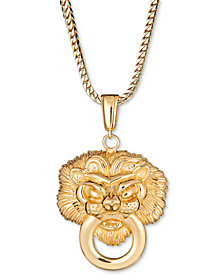 "Men's Lion Doorknocker 24"" Pendant Necklace in 18k Gold-Plated Sterling Silver"