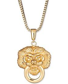 "Men's Lion Doorknocker 24"" Pendant Necklace in 18k Gold-Plated Sterling Silver"