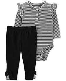 Carter's Baby Girls 2-Pc. Cotton Striped Bodysuit & Pants Set