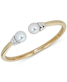 Cultured Freshwater Pearl (6-1/2mm) Cuff Bracelet in Sterling Silver & 14k Gold-Plate