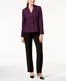 Le Suit Two-Button Pin-Dot Pantsuit