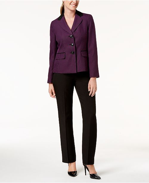 Le Suit Two-Button Pin-Dot Pantsuit