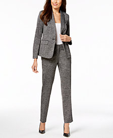 Kasper One-Button Printed Jacket with Elbow Patches & Printed Pants