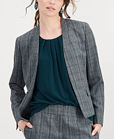 Kasper Petite Stand-Collar Plaid Jacket