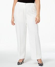 Plus Size Straight-Leg Crepe Pants
