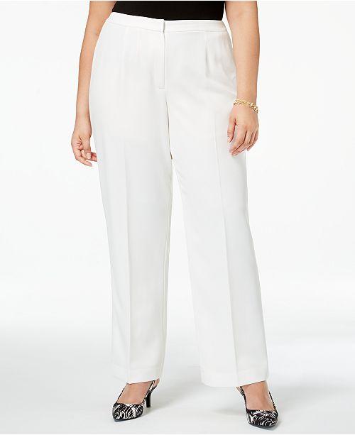 0e928451fbef0 Kasper Plus Size Straight-Leg Crepe Pants   Reviews - Pants   Capris ...