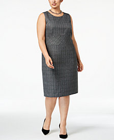 Kasper Plus Size Plaid Sheath Dress