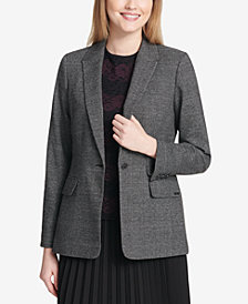 Calvin Klein One-Button Plaid Blazer