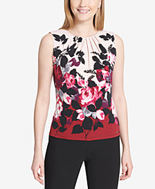 Calvin Klein Floral-Print Shell, Regular & Petite Sizes
