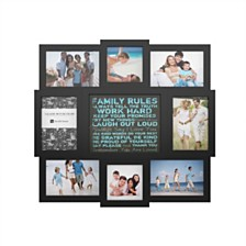 "Family Rules Collage Picture Frame with 8 Openings by Lavish Home, Black, 16.8"" x 19"" x 1"""