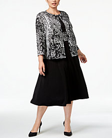 Jessica Howard Plus Size Midi Dress & Paisley Jacket